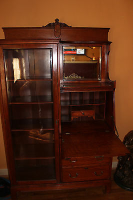 Antique Cherry Wood federal style side by side secretary desk inlay gold scroll