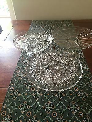 3 lovely vintage single tier glass cake stands.
