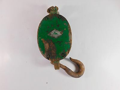 """Vintage Wood and Metal Pulley, Old Green Paint, Wood Section Measures 5"""" x 3"""""""