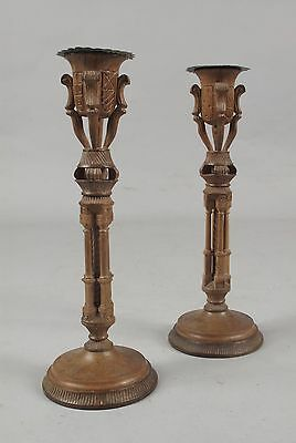 A pair of very stylish unusual fine carved walnut candle stick circa 1920 French