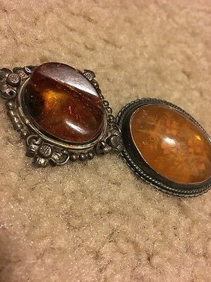 Carved Amber Broach And Amber Nugget Broach Lot