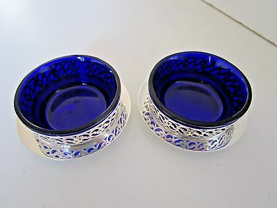 Pair Silver Plate & Blue Glass Salt Cellars..Viceroy Plate..Circa 1930's..