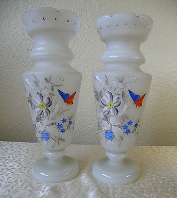 BRISTOL GLASS pair of antique mantle vases, handpainted with butterflies