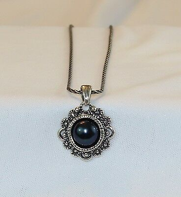 Passage to Israel Peacock Black 9.5-10 Pearl Necklace Retired  Sterling Silver