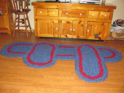 Handmade Rag Rug Lot Sale  8 Foot Runner, 4 Foot Oval, 3 Foot Oval In Blue & Red