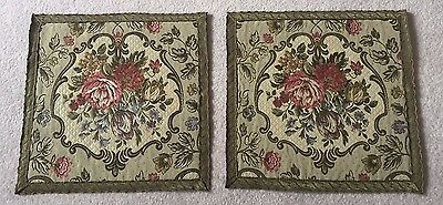 Pair of antique brocade square table mats