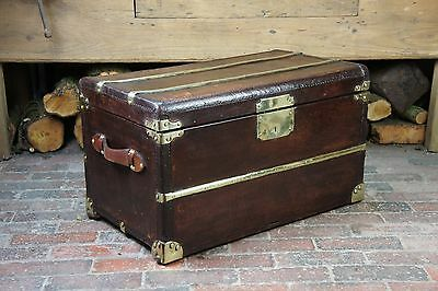 Rare French Antique Steamer Trunk with Brass Runners