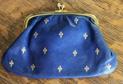 MADE IN ITALY gold fleur de lis pattern blue leather coin purse blue cabochons