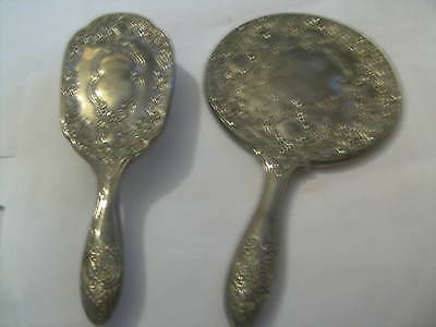 Vintage Mirror And Brush Silver Plated