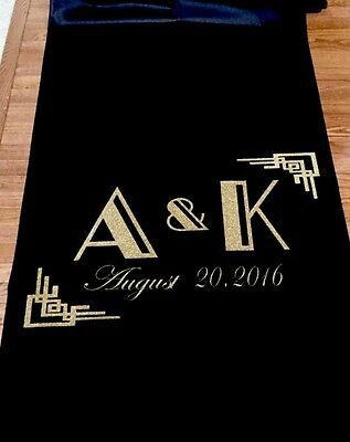 25ft Art Deco Gatsby Personalized Wedding Aisle Runner Black - 1920's