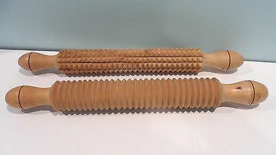 2 Corrugated Textured Lefse Rolling Pins