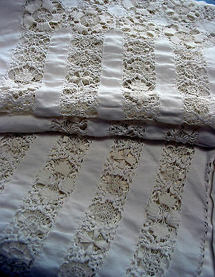"""Antique Hand Made Drawn Work  Needle lace Tablecloth,116""""by 70"""" Victorian style"""