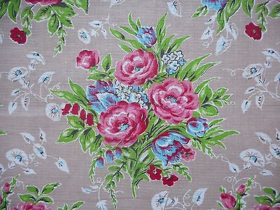 Lovely unused vintage 50's floral barkcloth interiors fabric - by the metre