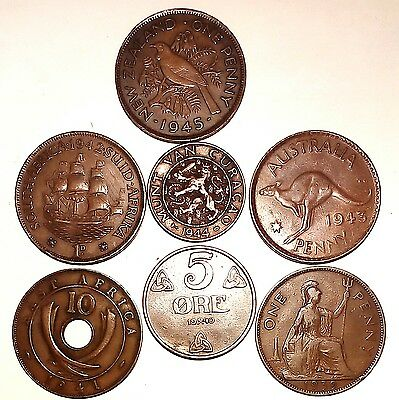RARE 1939-1945 - WWII - Copper Coins. Lovely Rare Set. LOOK.