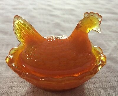 Hen on Nest Salt Dip Persimmon Orange Glass Chicken Boyd Glass