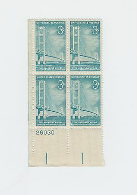 plate block of 4 MACKINAC BRIDGE MICHIGAN stamps Scott #1109 US 1958 MNH OG 3c