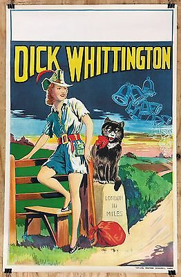 Vintage Original 1930's DICK WHITTINGTON theater Pinup POSTER English Lithograph