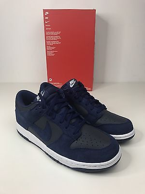 Nike Dunk Low Navy Blue Mens Basketball Trainers Sneakers Uk 8