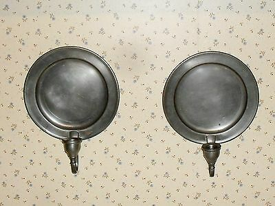 Pair of vintage Woodbury pewter plate style wall mount sconce candle holders