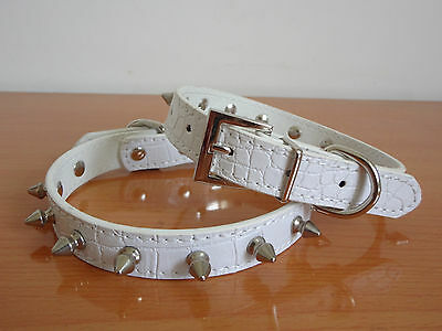 Leather Spiked Studded Pet Dog Collars Puppy Collars for Small Dog Collars White