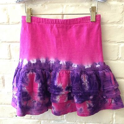Vtg 80s girl M tie dye skirt pink purple tiers thick cotton