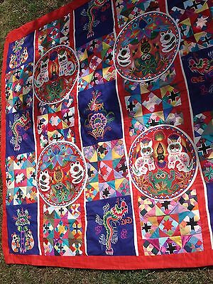 Handmade Chinese folk art double sided patchwork applique throw quilt hanging