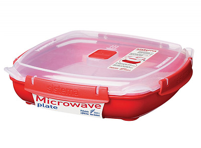 Sistema Microwave Steamer Large Plate Removable Steaming Tray 1.3 L Red Clear