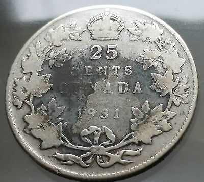 1931 Canada Silver 25 Cents Quarter Dollar Coin - Sealed in Acid-Free Package