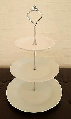 Ten (10) classic white three/3 tier cake stands for afternoon tea
