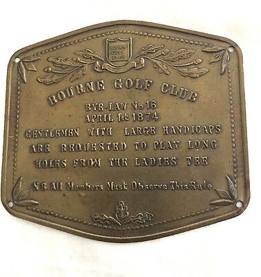 "Old Brass Plaque ""Bourne Golf Club By-Law No. 16, April 1st 1874"