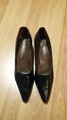 vintage retro shoes black leather size uk 8 euro 42