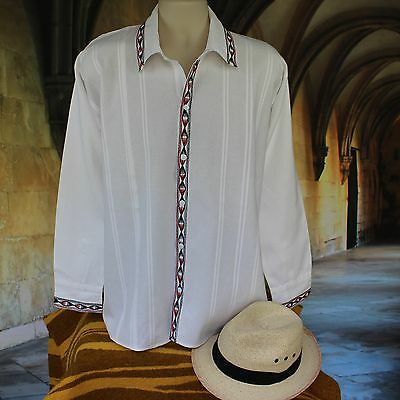 Men's Guayabera Latin American Shirt, cotton Embroidered, Tlahuitoltepec Mexico