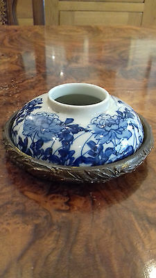 Chinese Blue and White 19th Century Ceramic Ink Well or Brush Washer