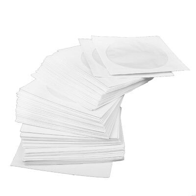 100 CD DVD Paper Sleeves White with Window and Flap 100 pack