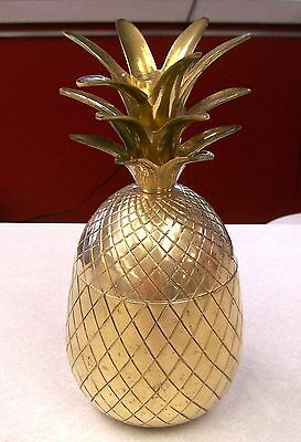 "Vintage Solid Brass Pineapple 9 1/2"" x 4 1/2""  2 piece"
