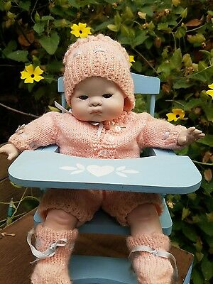 """ARTIST porcelain bisque 10""""  REPRO baby doll w highchair pouty tynie by-lo type"""