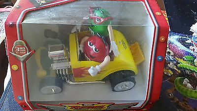 M&M's Candy Dispenser REBEL WITHOUT A CLUE Yellow Roadster Hot Rod Car NIB