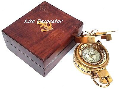 Solid Brass Finish Military Vintage Collectible Pocket Compass  With Wooden Box