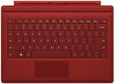 NEW Official Microsoft MS Surface 3 QWERTY Keyboard Type Cover Backlit Keys Red