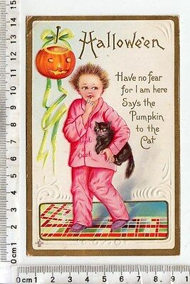 "1911 Series 226 E - ""Hallowe'en  Have no fear..."" Child in Pink PJs holding CAT"