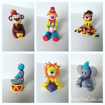 3D Fondant Circus Theme Cake Toppers (5cm - 7cm Height) $19.95 Each