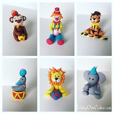 3D Fondant Circus Theme Cake Toppers