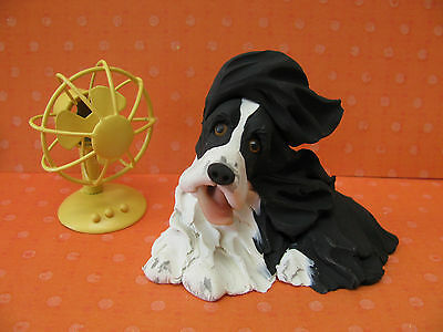 Handsculpted B/W English Springer Spaniel Dog with Fan Figurine