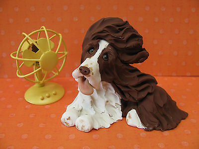 Handsculpted L/W English Springer Spaniel Dog with Fan Figurine