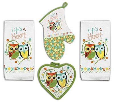 Kay Dee Designs Life's A Hoot Owl Set - 2 Terry Towels, Oven Mitt, and Potholder