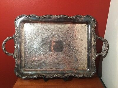"""VINTAGE WM ROGERS BUTLER SERVING TRAY SERVER 23"""" by 14"""" SILVERPLATE"""