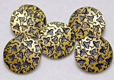 5 ANTIQUE FRENCH Brass Buttons TIGHT Top Tiny Leaves  A.P & Cie PARIS 5/8""