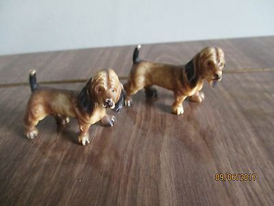 "pair of antique victorian bisque miniature dog ornaments 1.5"" tall"