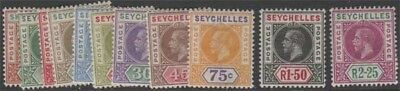 SEYCHELLES KGV 1912-16 Set of 11 Scott 63-73 SG71-81 LH + Hinged cv £110