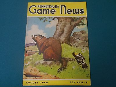 Vintage Pennsylvania Game News Magazine August 1949, Pa Game Commission